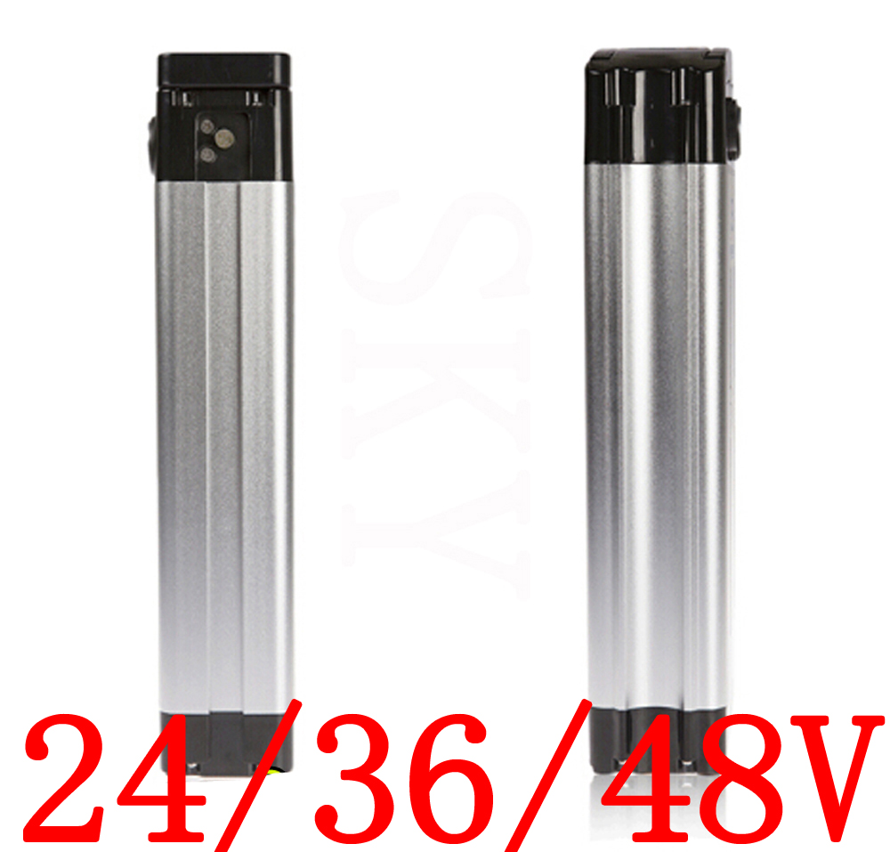 Free Shipping 24V 36V 48V Electric Bicycle Battery Case 24V 36V 48V Silver Fish Electric Bike Aluminum Housing Top Discharge