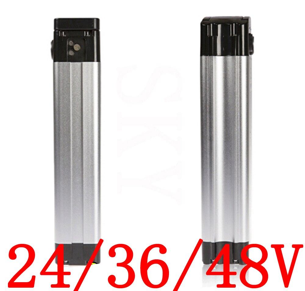Free Shipping 24V 36V 48V Electric Bicycle Battery Case 24V 36V 48V Silver Fish Electric Bike Aluminum Housing Top Discharge