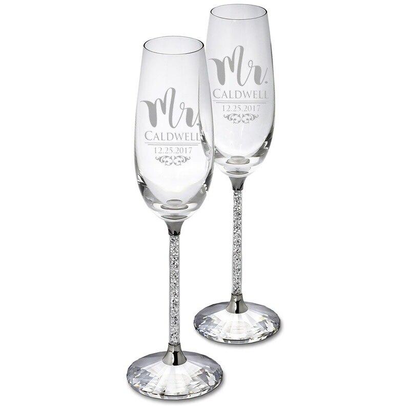 Personalizado óculos de casamento com caixa de presente champanhe flautas festa cristalina beber vidro gravar copos de cristal h1188