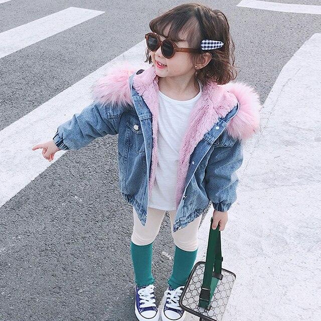 Girl's Eco Fur Hood Denim Coat 5