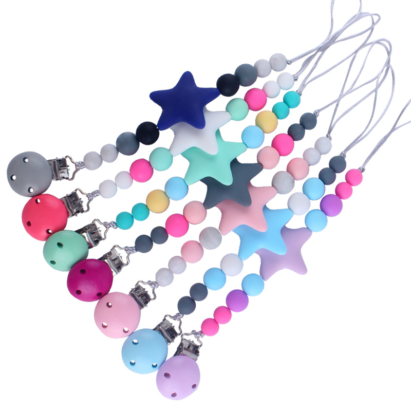 Hot Sale BPA Free Silicone Dummy Pacifier Clips Chain Big Star Pendant Nursing Teething Gift For Newborn Baby Boy Girl