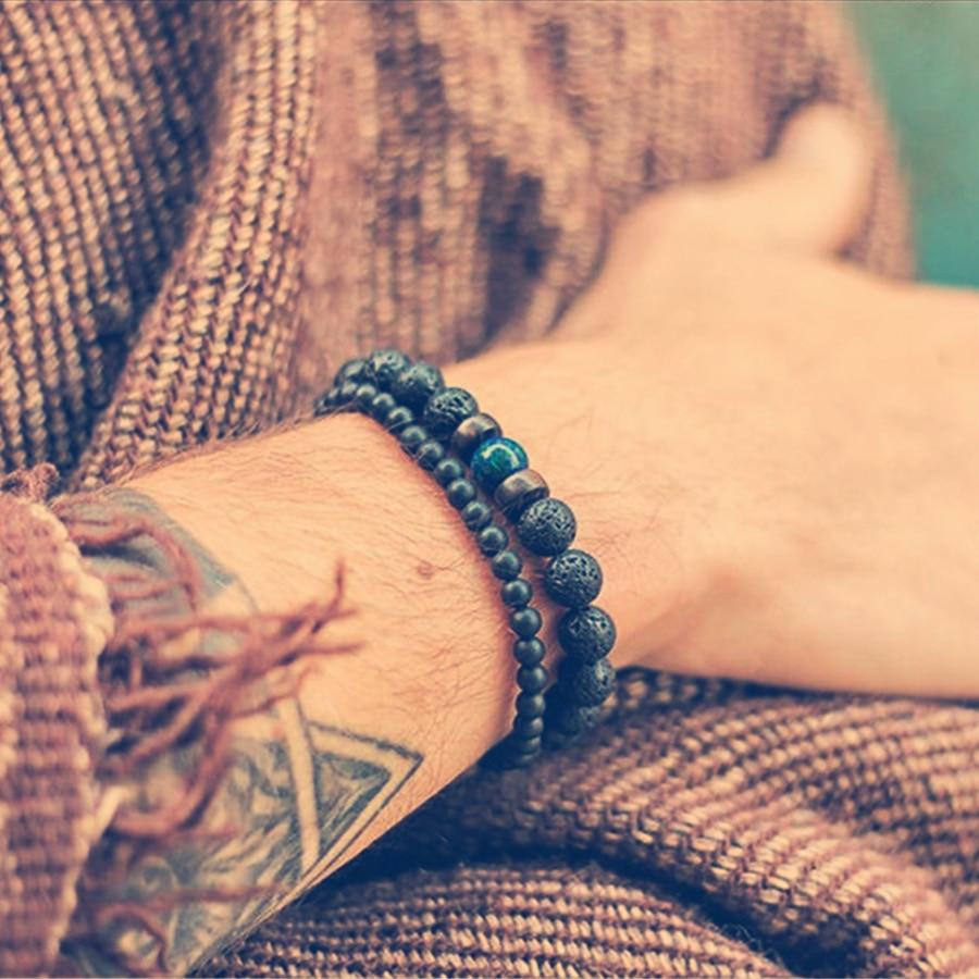 Fashion Lava Stone Bracelet Men Natural Moonstone Bead Chakra Bracelet Male Charm Diffuser Bracelets Heren Armband Jewelry Gift 2