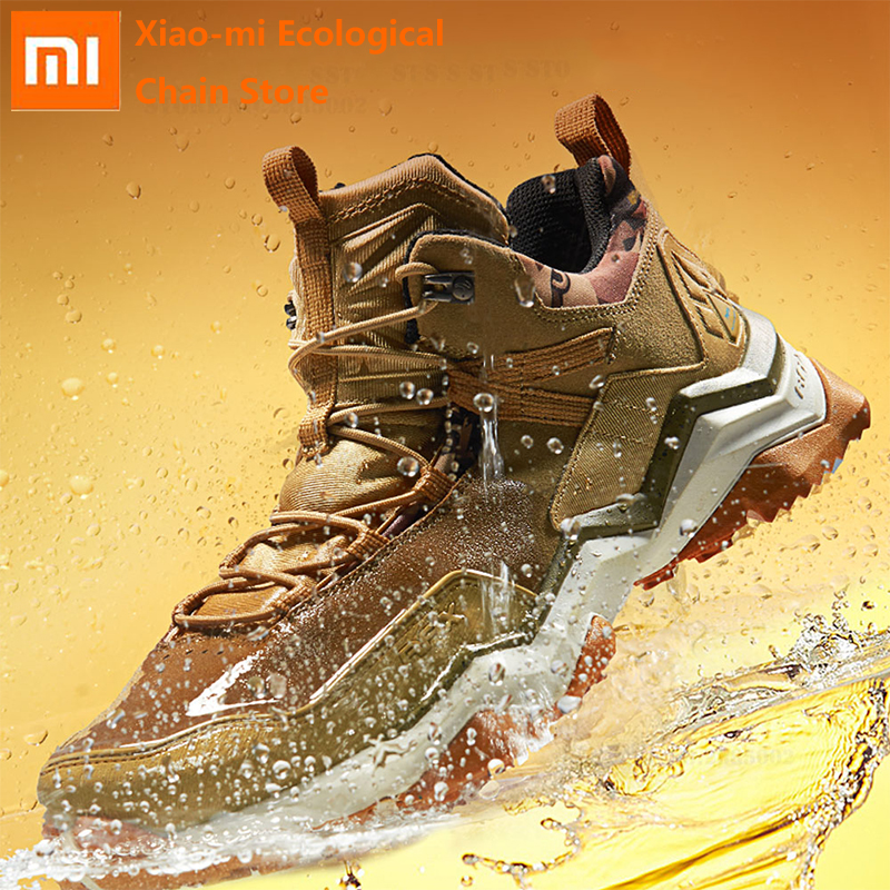 Xiaomi Men Outdoor Hiking Boots RAX Genuine Leather Sports Shoes Waterproof Hiking Shoes Anti-Slip Mountain Boots Sport Sneakers
