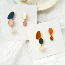 South Korean tide asymmetric earrings and colorful color matching contracted exquisite fashion for women