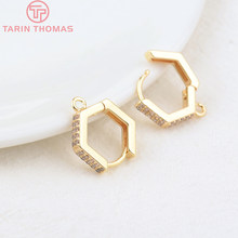 4PCS 14MM Hole 1.5MM 24K Gold Color Brass Hexagon Earring Hoop Earrings Clasps High Quality DIY Jewelry Making Findings