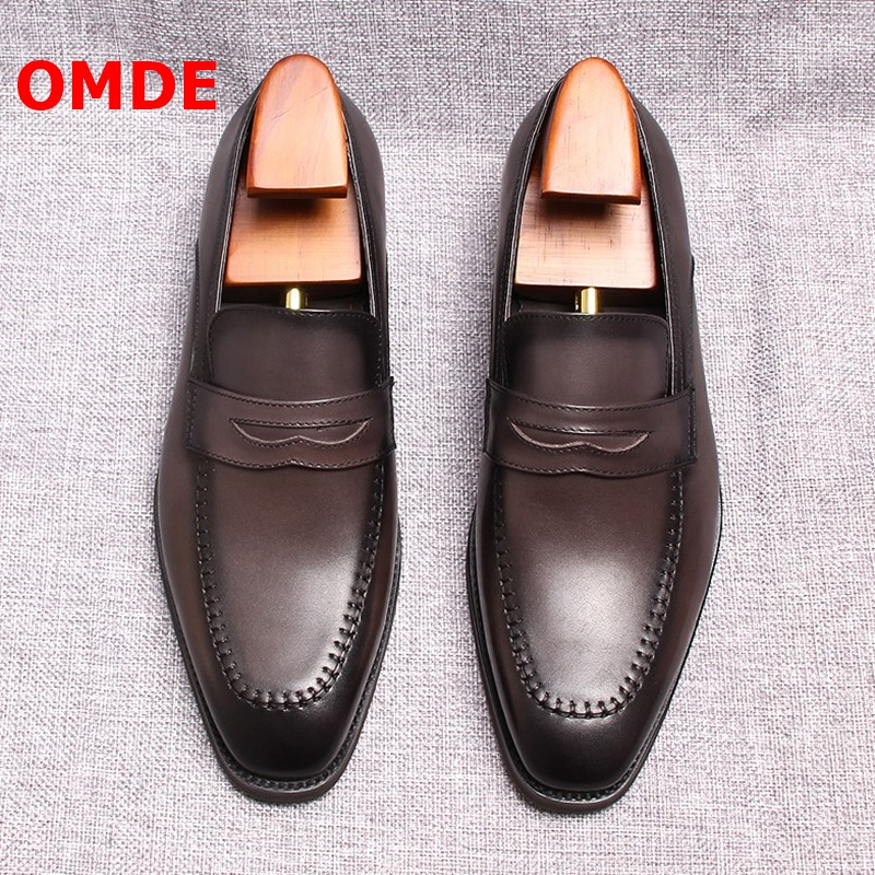 OMDE Mens Penny Loafers Italian Design Genuine Leather Men Casual Shoes Slip On Dress Shoes Handmade Men's Party Wedding Shoes