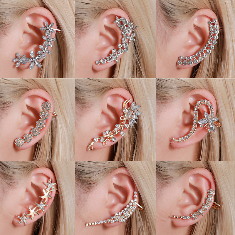 Pendientes bohemios sin Piercing para la oreja, de estrás de cristal, pendientes de perno con Clip para envolver, pendientes para mujer y Chica, pendientes joyas bisutería a la moda