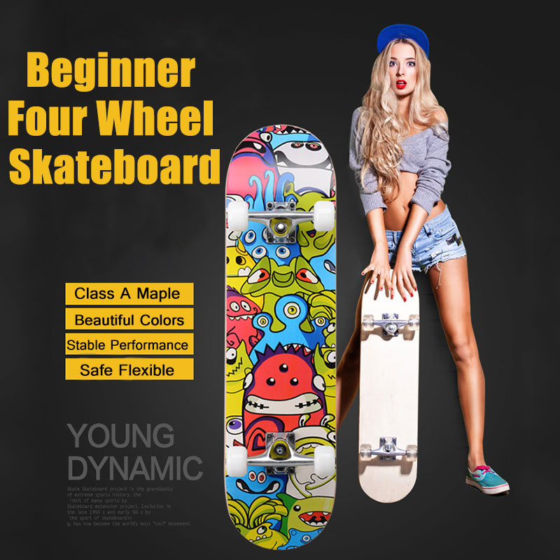 Child Skate Board Four-Whee Skateboard Street Skate Board Outdoor Sports Long Board Skates Scooter Wooden Skateboard