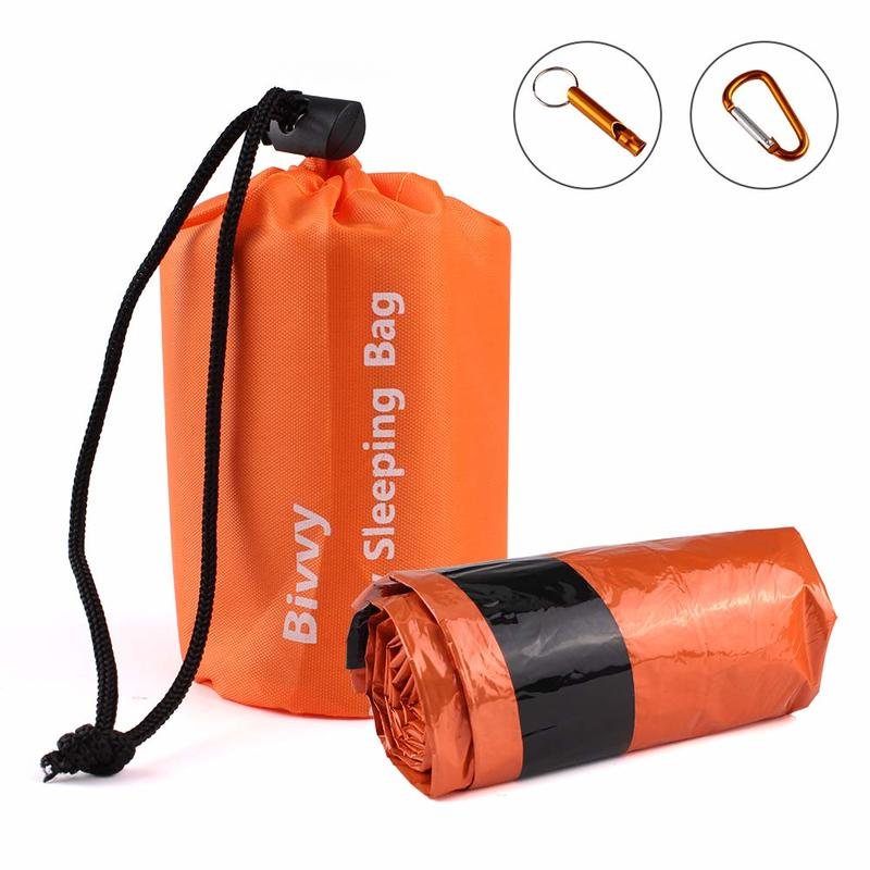 Emergency Sleeping Bags, Ultra Portable Waterproof PE Thermal Bivvy Sack Survival Tent,Emergency Shelter,Survival Bag Kit