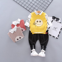 1 4Yrs Children Clothes Suit Smiley Face Swester Vest Long Sleeve Printing Shirt Trousers Three piece Suit Boy Clothing Kids Set
