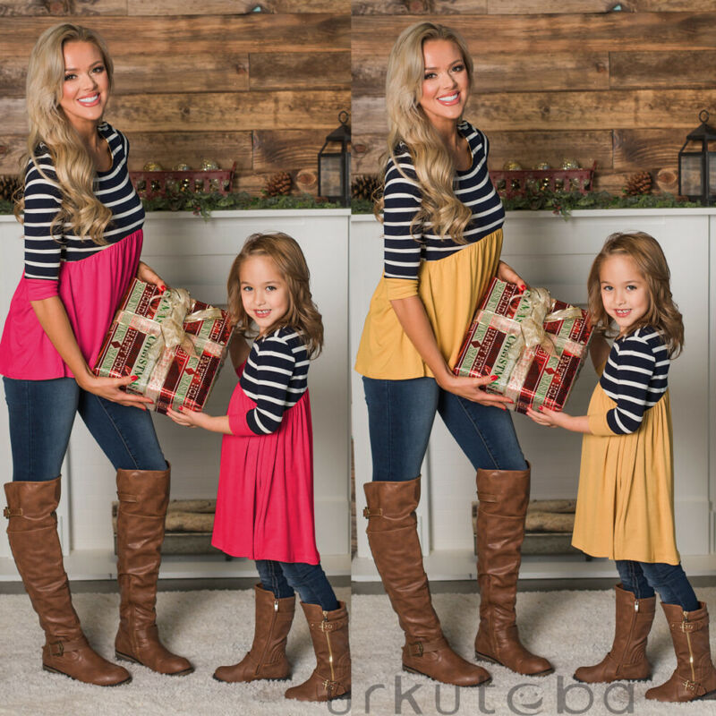Fashion Women Mother Daughter Matching Dresses Summer Girl Dress Clothes Sets