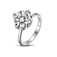 QYI 925 Silver for Women Engagement Rings Wedding Ring 5A Zircon White Gold Color 3.5 Ct Round Cut