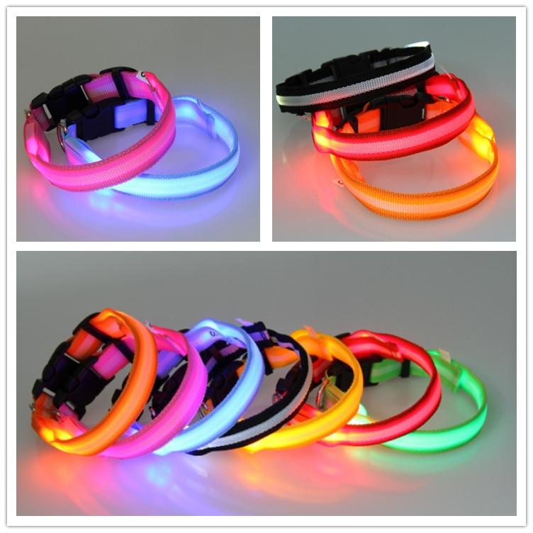 LED Luminous Dog Collar Large And Medium Small Dogs Pet Collar Polyester Webbing Neck Ring Night Light Neck Ring