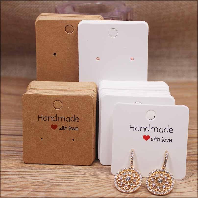 50pcpaper earrring estilo feito à mão brinco cartão 5x 5cm/3x3cm /5x9cm /5x6.5cm /5x7cm marrom/branco diy jóias pacote cartão|Display e embalagem p/ joias|   -