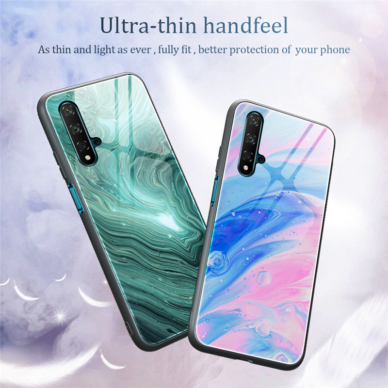Marble Pattern Tempered Glass Phone Case For Huawei P40 P30 P20 Mate 30 Pro Nova 5 5I 7I Honor 20 10 Lite 8X P Smart 2019 Cover