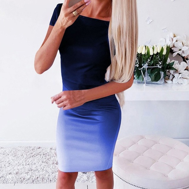Gradient Color Dress for Summer Lady's Above Knee Sexy Dress 2
