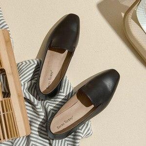 Image 3 - BeauToday Cho Nữ Nữ Da Bê Thương Hiệu Vuông Mũi Giày Slip On Nữ Đế Bằng Chất Lượng Hàng Đầu Giày Làm Bằng Tay 27089