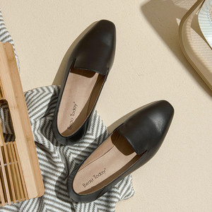 Image 3 - BeauToday Loafers Women Calfskin Leather Brand Square Toe Slip On Lady Flats Top Quality Shoes Handmade 27089