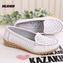 цена на SOLUDOS 2020 Spring Women Flats Shoes Women Genuine Leather Shoes Woman Cutout Loafers Slip On Ballet Flats Ballerines Flats
