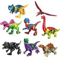 Set Verkauf Bausteine Tyrannosaurier Rex Transparent Welt Dinosaurier Ziegel Figuren Bildung Spielzeug Für Kinder Geschenk YE 77070
