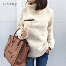 Lossky Women Sweatshirts Autumn Winter Top Long Sleeve Plush Warm Pullover Tunic Female Pink Ladies Clothing Zipper Streetwear(China)