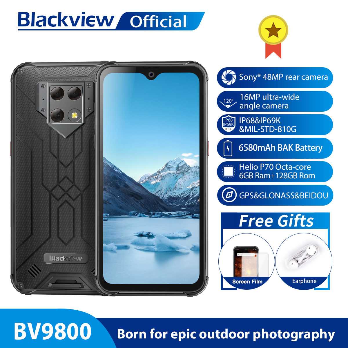 Blackview BV9800 Helio P70 Android 128GB 6GB LTE Nfc Wireless Charging Octa Core Fingerprint Recognition/face Recognition