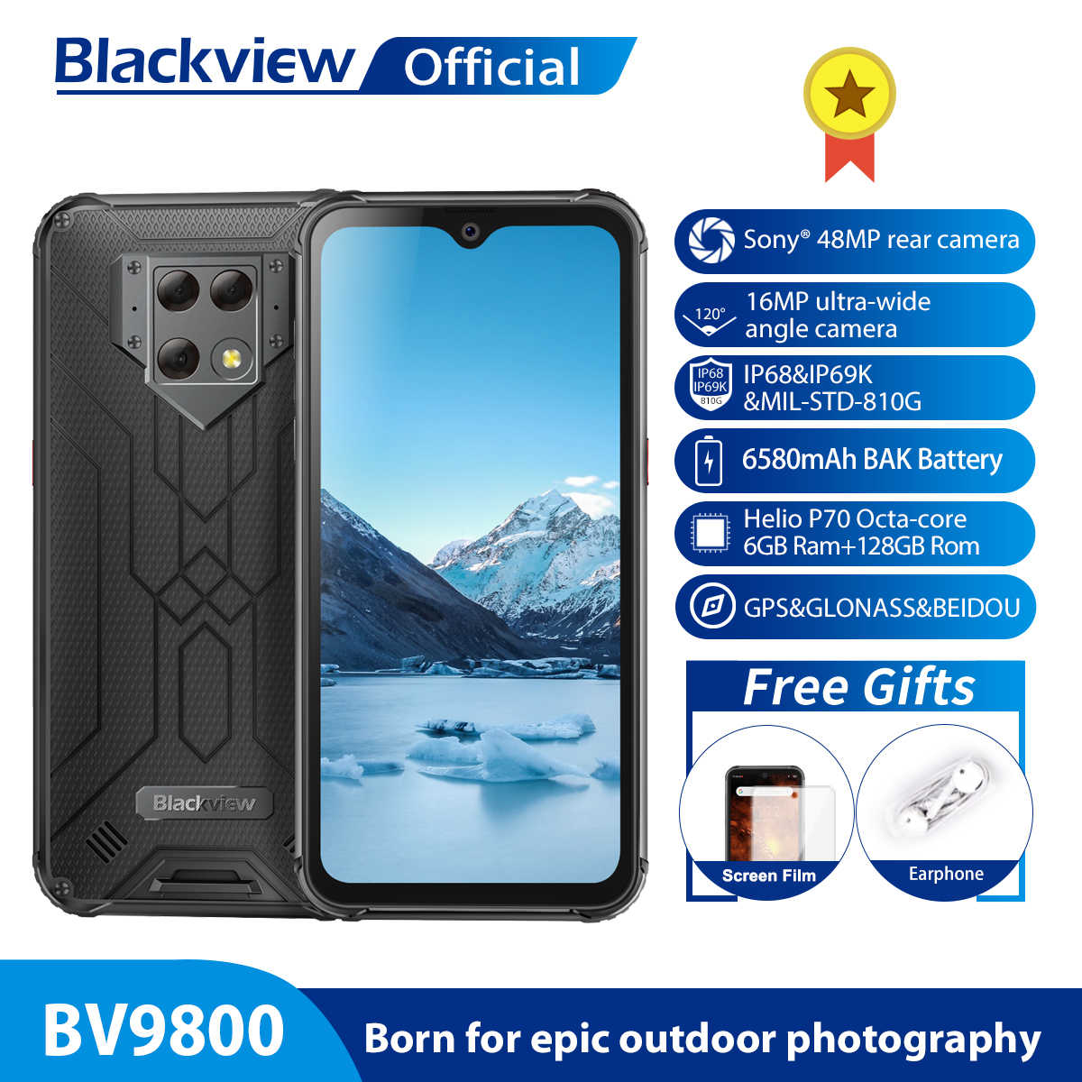 "Blackview a BV9800 Helio P70 Android 9,0 6GB + 128GB Smartphone 48MP cámara trasera IP68 6580mAh impermeable 6,3 ""FHD teléfono móvil"
