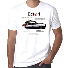 Ghostbusters Ecto 1 leichenwagen infographic retro 1980s mens 100% baumwolle tshirt Coole Casual stolz t hemd männer Unisex Neue mode(China)