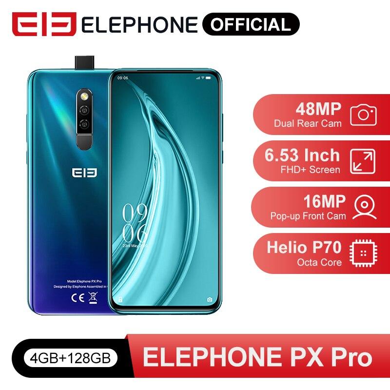 Pré venda px pro telefones celulares 4gb 128gb helio p70 octa núcleo 6.53 fffhd + 48mp cam traseira 16mp pop-up frontal cam carga sem fio nfc