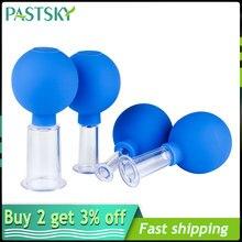 4 pçs vácuo facial cupping latas frascos de sucção silicone anti rugas terapia rosto massageador chinês cuidados médicos beleza ferramenta