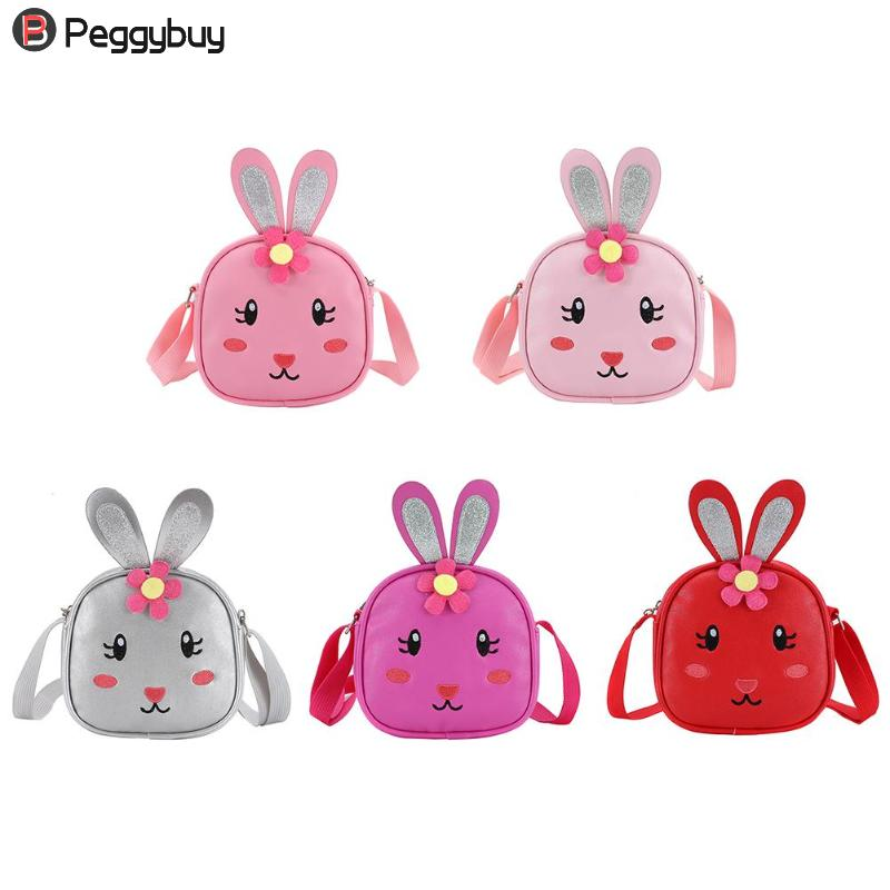 Kids Cute Bags Shoulder Bags New Fashion Cartoon Kids Crossbody Bags Cute Rabbit Flower Mini Purse Zip Shoulder Bag Handbags