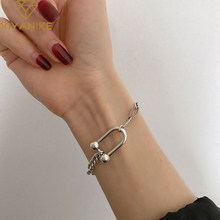 XIYANIKE – Bracelet en forme de U pour femme, en argent Sterling 925, fer à cheval, chaîne de réservoir, ins, vent froid, Style coréen, léger, luxueux, étudiant
