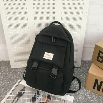HOCODO Backpack For Women Solid Color School Bag For Teenage Girls Shoulder Travel Bag Multi Pocket Nylon Back pack Mochila 2019