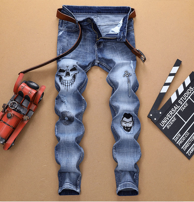 European American Style Fashion Brand Men Blue Jeans Luxury Men's Denim Trousers Slim Straight Skull Pattern Jeans For Men