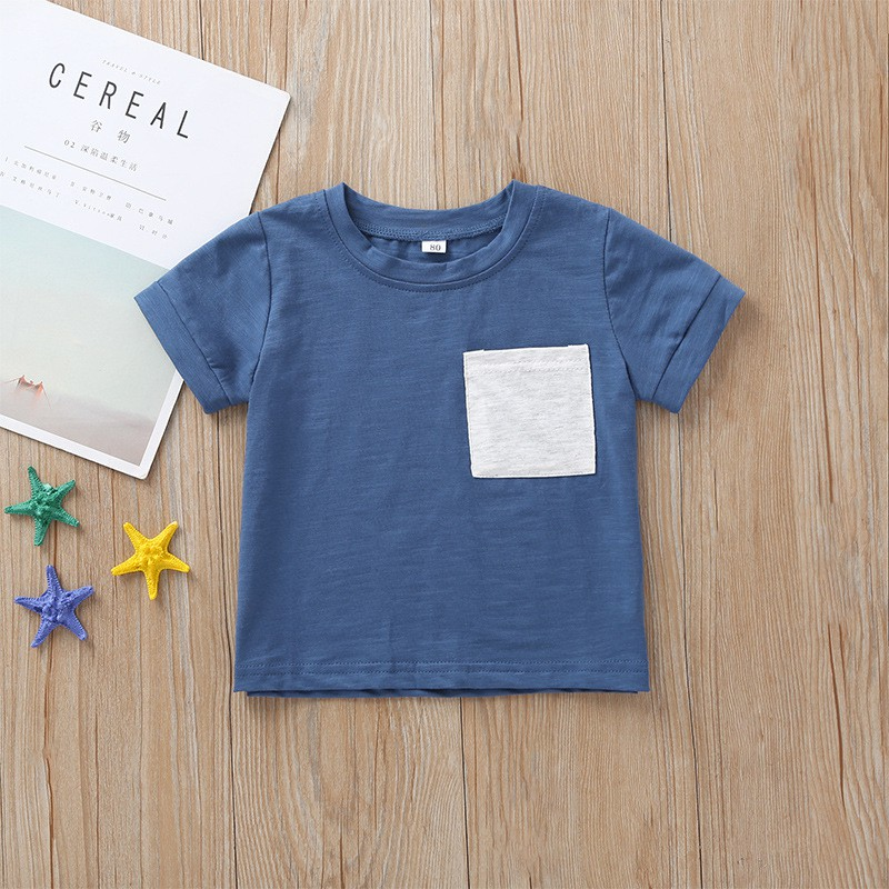 T-Shirt Kids Short-Sleeve Toddler Baby-Boy Solid-Color Casual Summer Fashion Cute Blouse