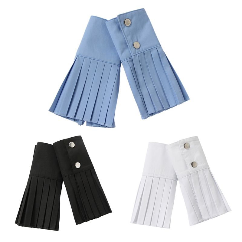 Women Decorative Pleated Fake Trumpet Sleeve Solid Color Sunscreen Flared Cuffs