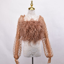 100% natural ostrich hair bra underwear women's fur coat Latest hot selling sexy sleeve real ostrich fur coat