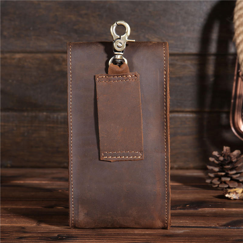 First Layer Of Horse Leather Leather Men's Retro Phone Outdoor Mobile Phone Wallet Small Pockets Shoulder Bag X2095