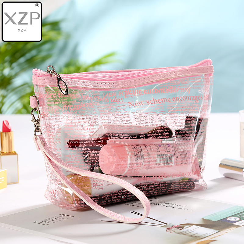 XZP Travel PVC Cosmetic Transparent Bags Women Clear Zipper Makeup Bags Organizer Bath Wash Make Up Tote Handbags Case