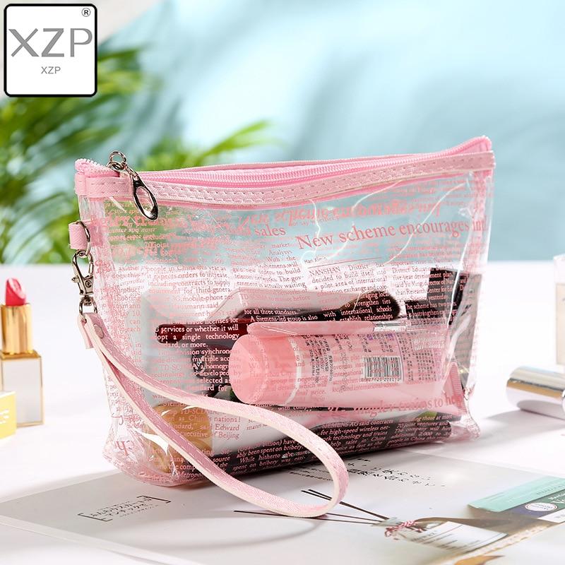 XZP Travel PVC Cosmetic Transparent Bags Women Clear Zipper Makeup Bags Organizer Bath Wash Make Up Tote Handbags Case