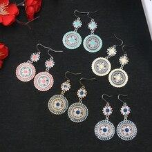 FSUNION 2019 New Vintage Ethnic Flower Oil Drop Dangle Hanging Earrings for Women Female Fashion Lovely Ear Ornaments Jewelry