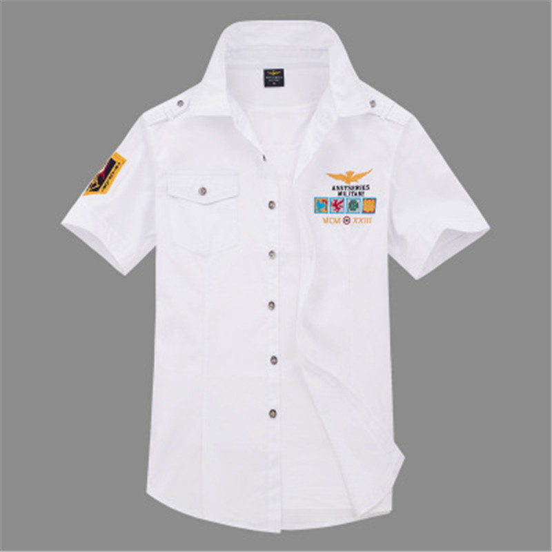 Summer Air Army Shirts Eagle Embroidered Lapels Single-breasted Blue White Short Sleeve Cotton Shirt Military Training Handsome