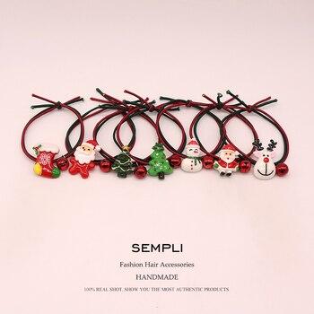 Sempli High Nylon Rubber Bands Christmas Season Bell Elastic Hair Women Girls Santa Claus Tree Headwear Gift - discount item  45% OFF Headwear