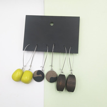 Green Tropical Forest Series Drop Earrings Resin Wood Long Camouflage Button Summer Holiday Women Accessories