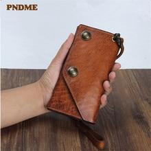 PNDME vintage real cowhide men's women's clutch wallet fashion genuine leather designer anti-theft multi-card holder phone purse