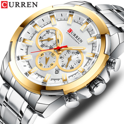 Luminous Waterproof Casual Sports Watches Men Top Brand Luxury Curren Steel Mens Quartz Watch Chronograph Business Male Clock
