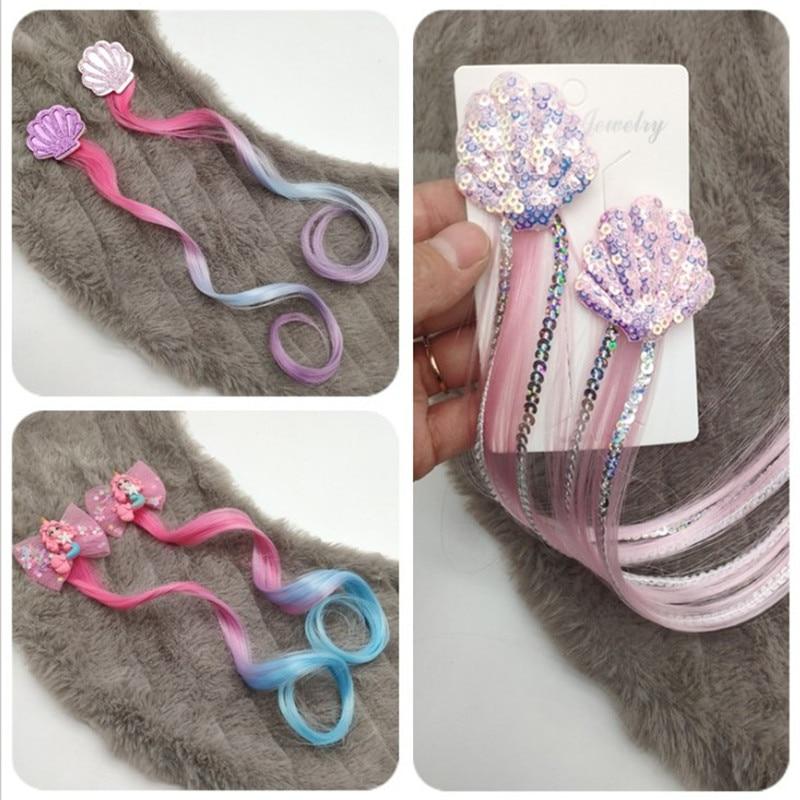 2PCS Girls Mermaid Wigs Hairpins Ponytail Kids Rainbow Hair Clip For Hair Extension Colorful Wig Twist Braider Hair Accessories