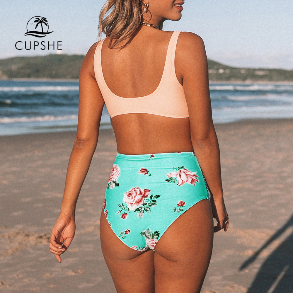 CUPSHE Pink And Green Floral High-waisted Bikini Sets Women Heart Neck Cute Two Pieces Swimsuits Women Sexy Beach Bathing Suits 1
