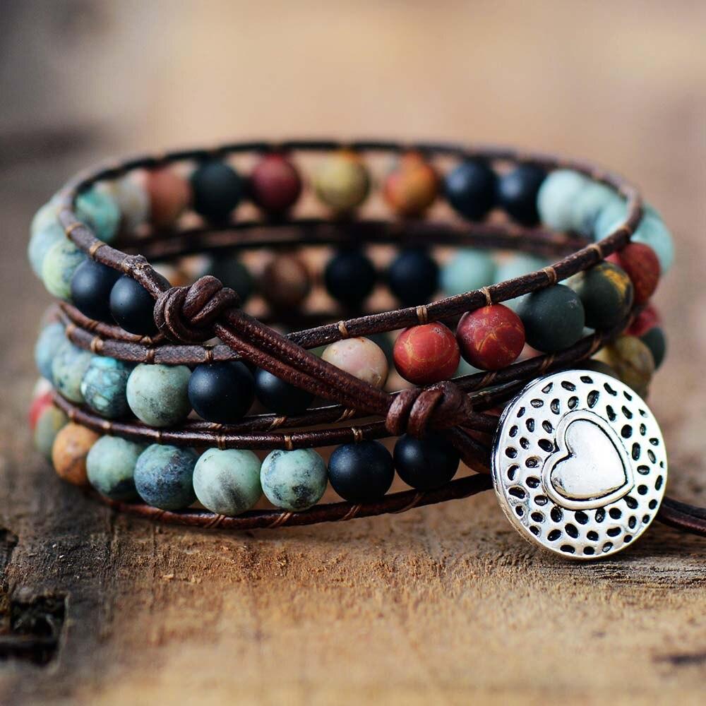Vintage Leather Bracelets 6MM Matte Stone 3 Strands Wrap Bracelets Woven Multilayer Boho Bracelet Handmade Jewelry Dropship(China)