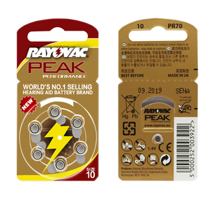 Image 5 - Hearing Aid Batteries 60 PCS / 1 box RAYOVAC PEAK A10/PR70/10 Zinc Air batterie 1.45V Size  Diameter 5.8mm Thickness 3.6mm